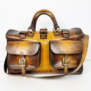 Wabags Brown Large Handcrafted Leather Travel bag